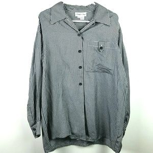 Vintage Silk Button Up Black & Gray Houndstooth